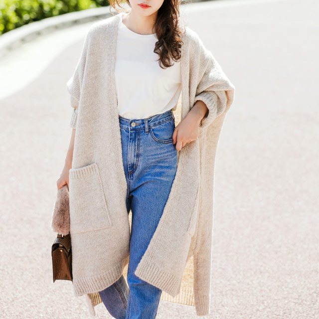 knit long cardigan[1021C]