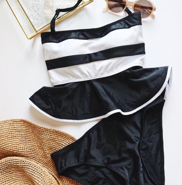 <Summer Sale!!>peplum border bikini[102S]