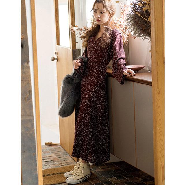 【4/16(火)19:00販売開始】フラワープリントロングスリーブドレス(全2色)[103E]