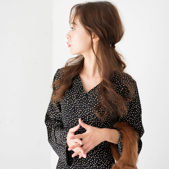 フラワープリントロングスリーブドレス(全2色)[103E]