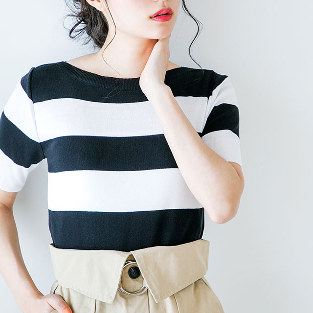 <Summer Sale!!>crew neck short sleeve knit [104C]