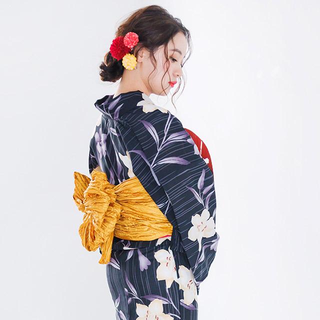 黒花柄浴衣セット(全1色)[104X]