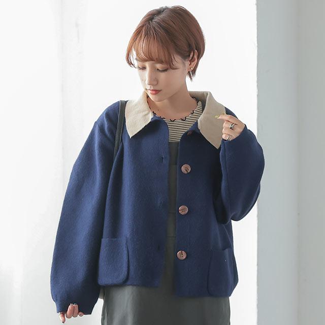 【10/12(tue)19:00〜】配色襟ニットジャケット[1082K]