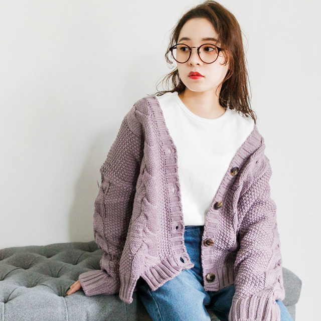 cable knit cardigan[1090C]