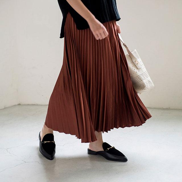 【★mina5月号掲載+シャイニープリーツミドルスカート(全4色)[110M]