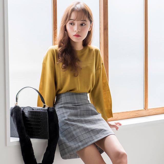 glen check mini skirt[111M]