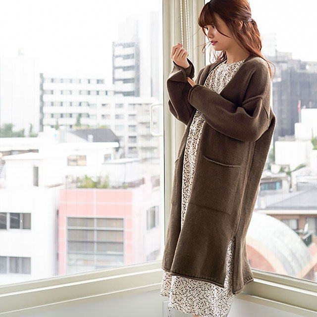 open long knit cardigan[113K]
