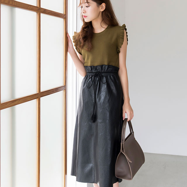≪FINAL SALE≫ウエストリボン合皮スカート(全2色)[115M]