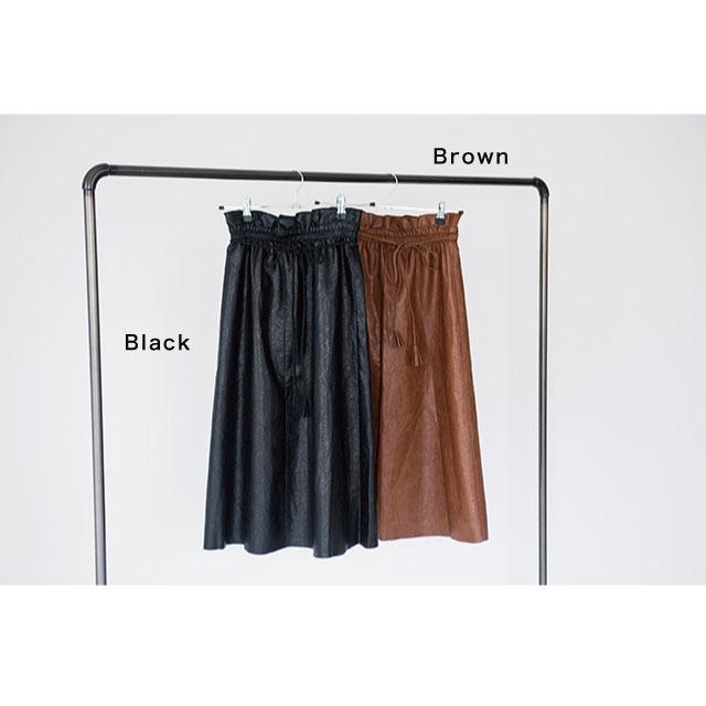 ウエストリボン合皮スカート(全2色)[115M]