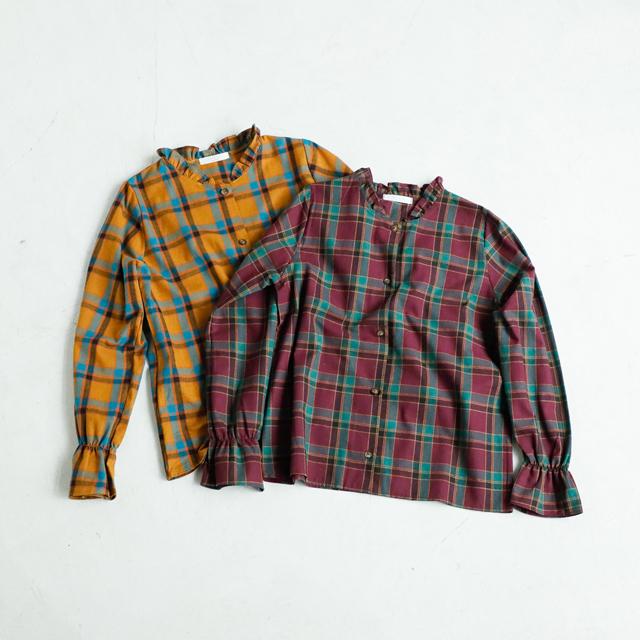 ≪村田倫子Select≫チェック柄フリルカラーブラウス(全2色)[1161C]