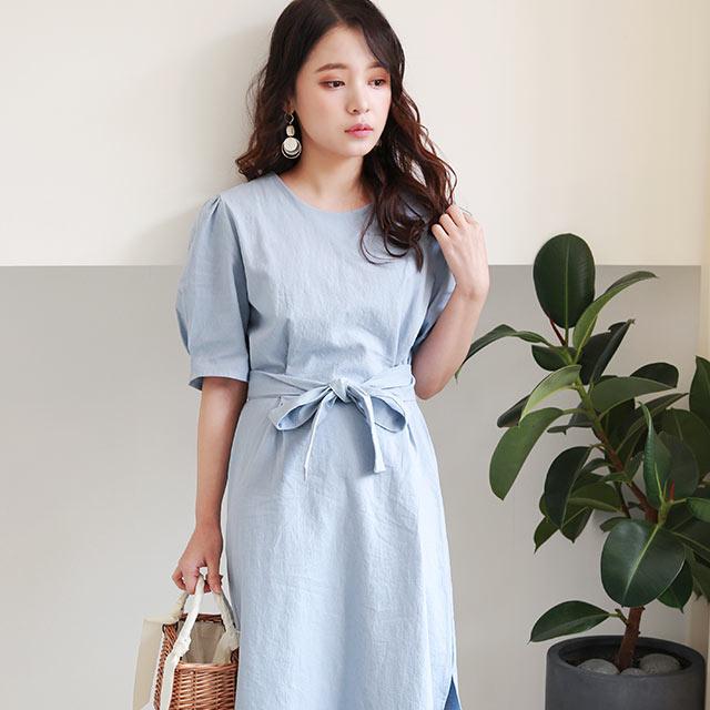 linen like waist ribbon onepiece[1194E]