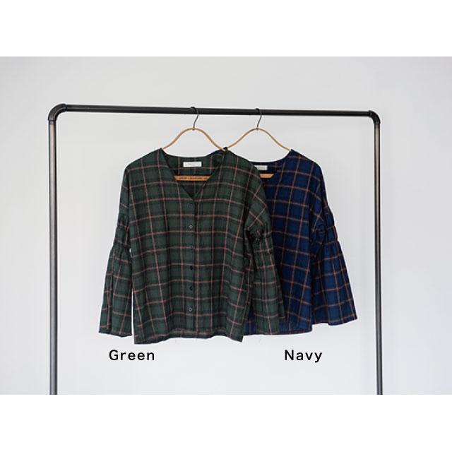 フレアスリーブVネックチェックシャツ(全2色)[119C]