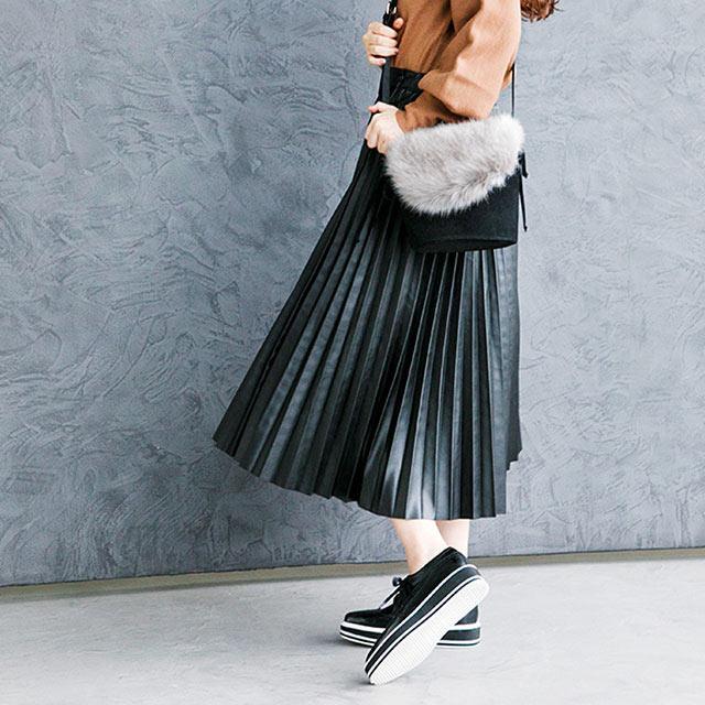 レザーライクプリーツスカート(全2色)[120M]【7月下旬予約】