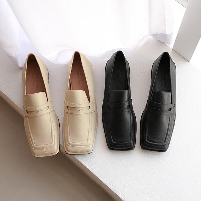 square toe lofer shoes[1218I]