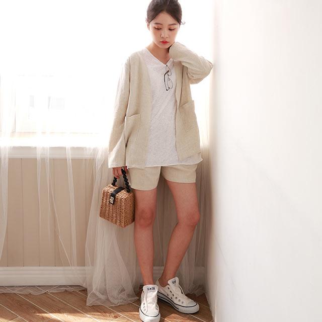 【yon's select】linen like jacket x short pants setup[1232E]