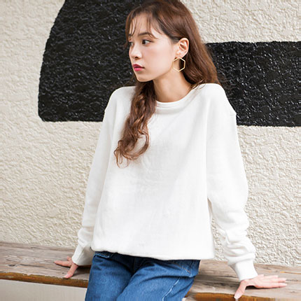【★mina5月号掲載+クルーネックスウェット(全2色)[123C]