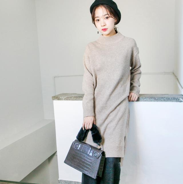 boat neck knit onepiece[123E]