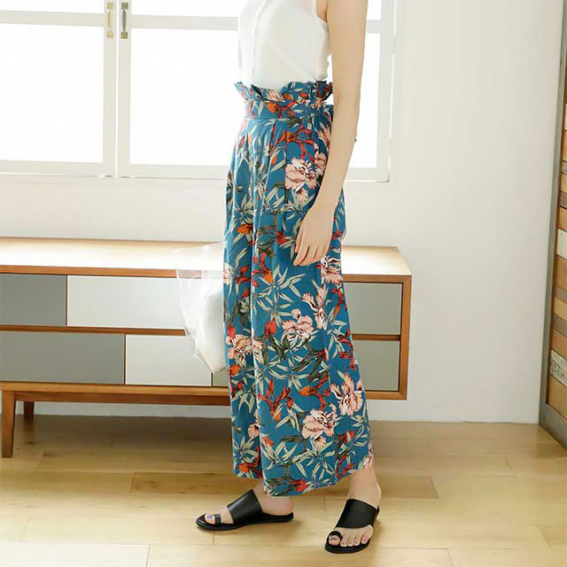 <Spring Sale>waist ribbon flower wide pants[123M]