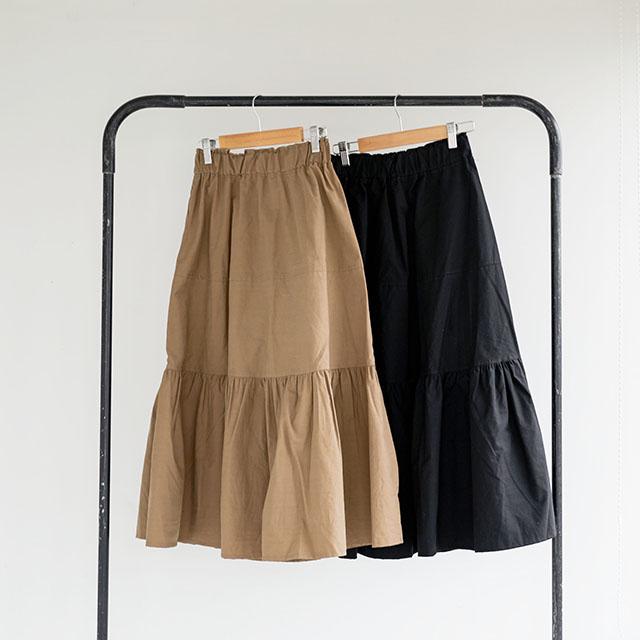 ラッフルヘムミモレスカート(全2色)[124M]