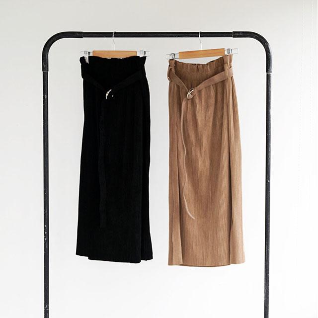 スエードライクウエストゴムプリーツスカート(全2色)[125M]