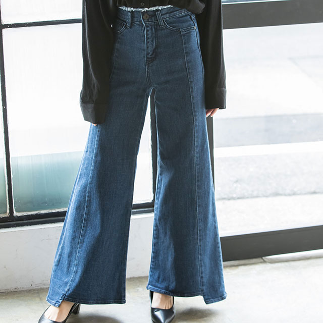 <Spring Sale>cut-off wide denim pants[127M]