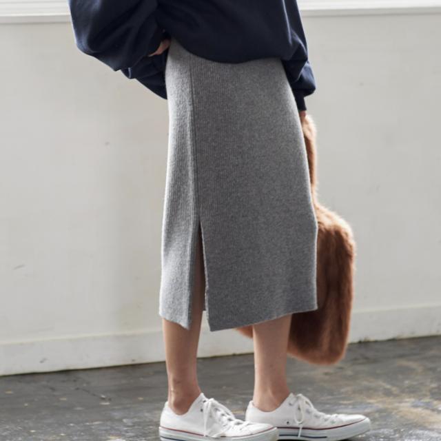 ウール混サイドスリットニットスカート(全2色)[133M]