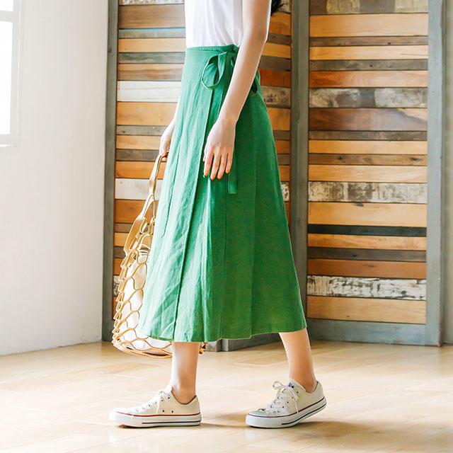 リネン混ラップスカート(全4色)[134M]