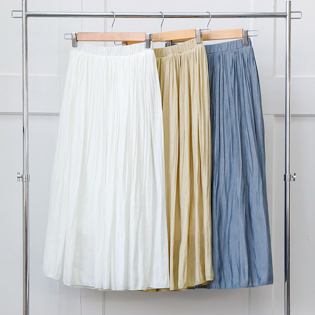 <Summer Sale!!>glossy pleated skirt[1362M]