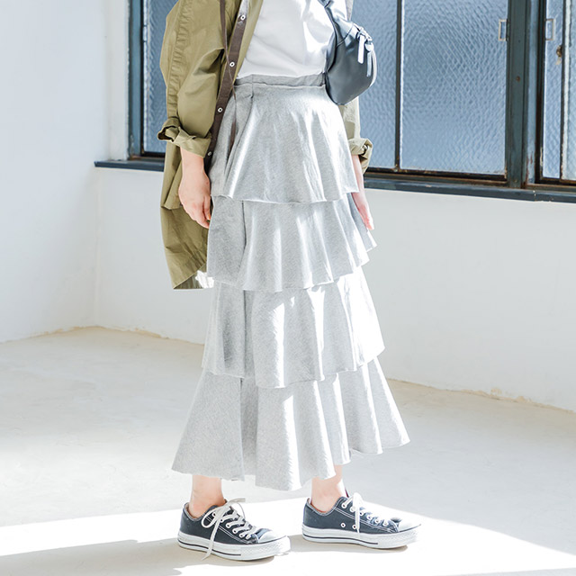 <Spring Sale>cut tiered skirt[1369M]