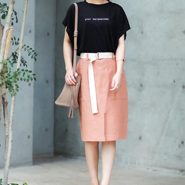 ウエストベルト付リネンフロントスリットスカート(全3色)[139E]【7月下旬予約】