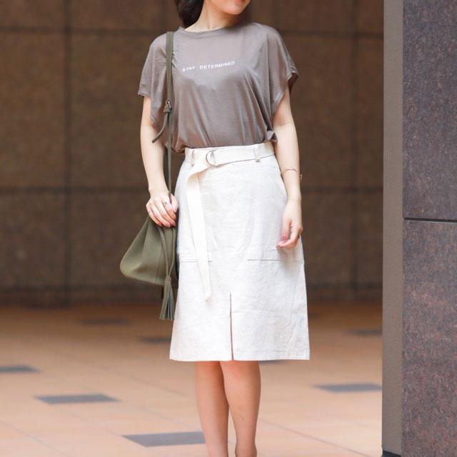 <Summer Sale!!>linen front slit skirt with waist belt[139E]