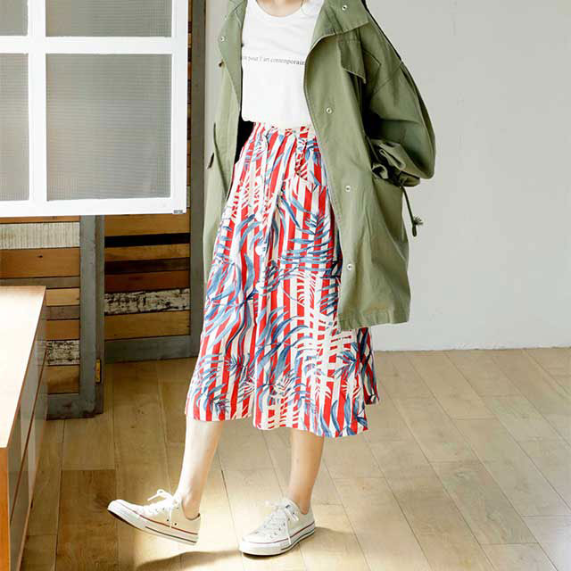 front button botanical skirt[140M]