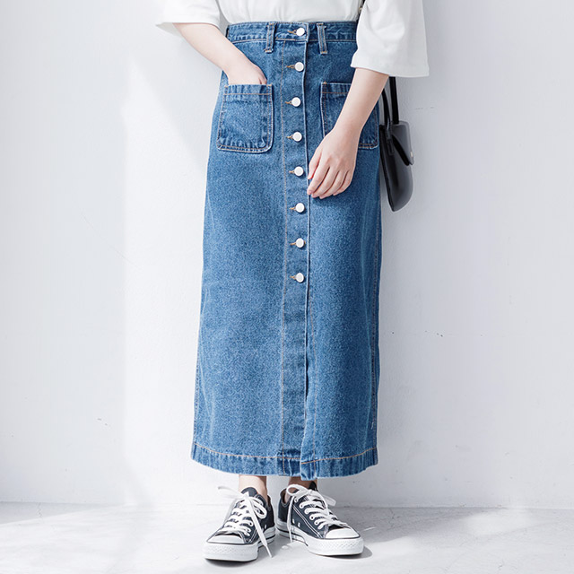 <CLEARANCE SALE>front button denim skirt[1413M]