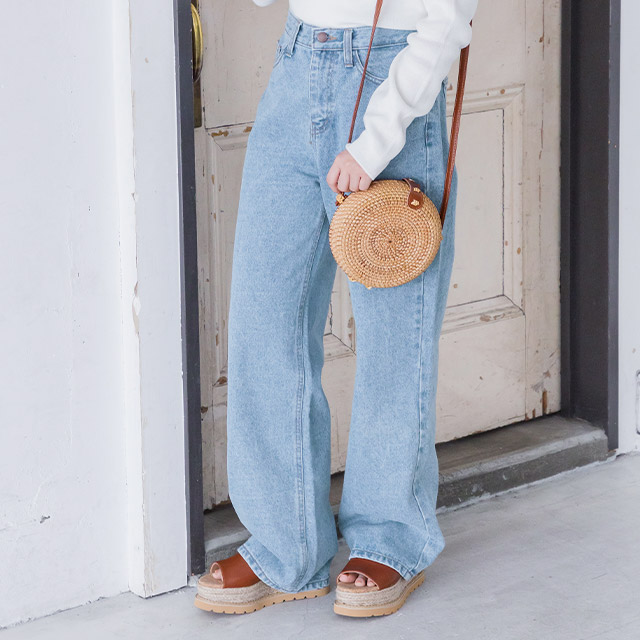 <Summer Sale!!>high waist wide denim [1419M]
