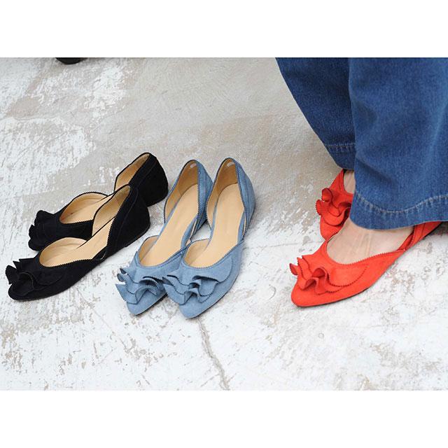ruffle flat shoes[142B]