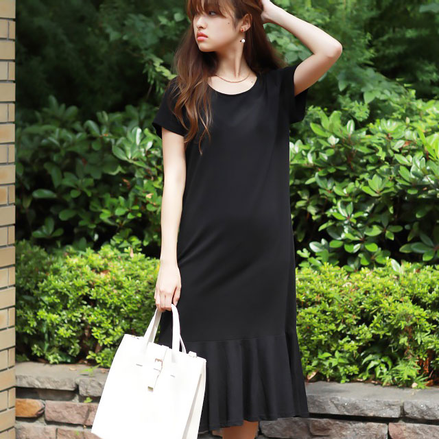 frill hem T-shirt dress[142E]