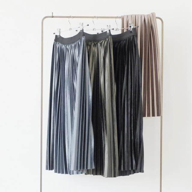 4colorベロアプリーツスカート(全4色)[145M]