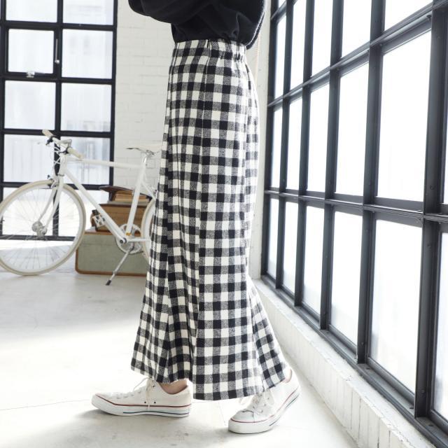 【9/20(金)19:00販売開始】ギンガムチェック柄ロングスカート(全1色)[146M]