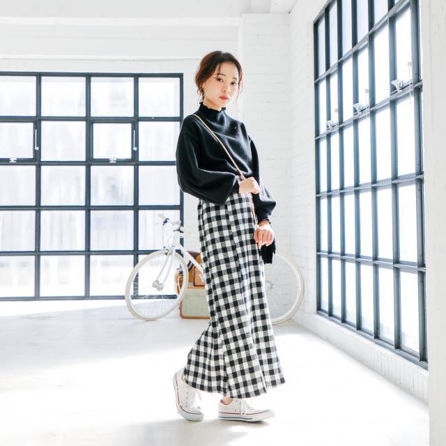 ギンガムチェック柄ロングスカート(全1色)[146M]