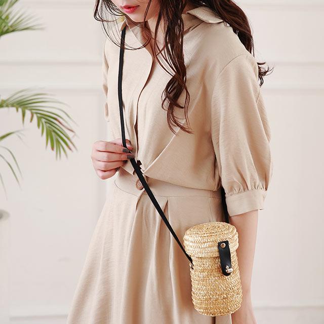 <Summer Sale!!>waist button shirt onepiece[1493E]