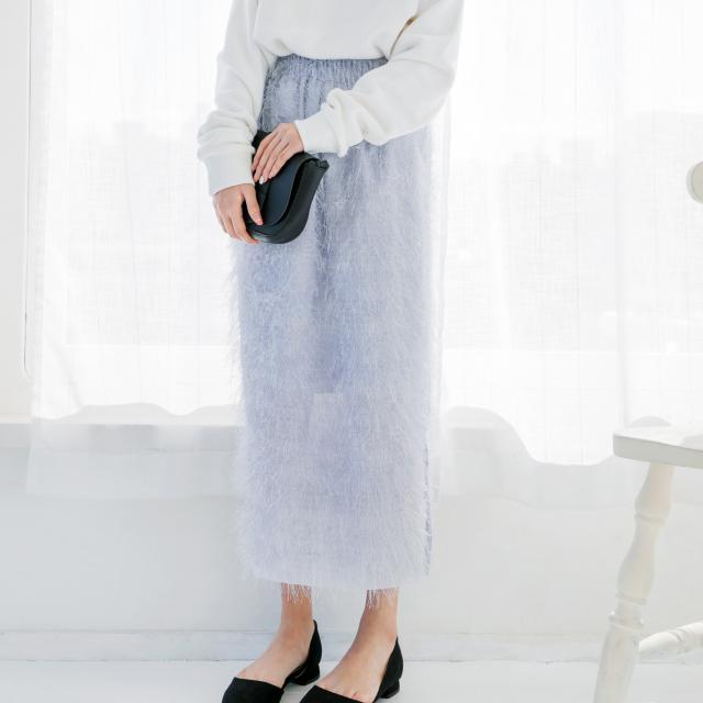 <CLEARANCE SALE>feather-like long skirt[150M]