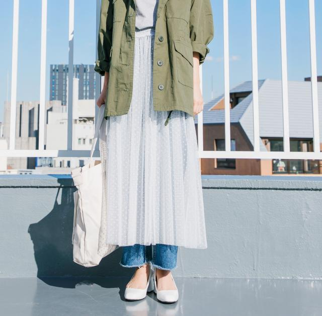 <CLEARANCE SALE>dot pattern volume tulle skirt[151M]