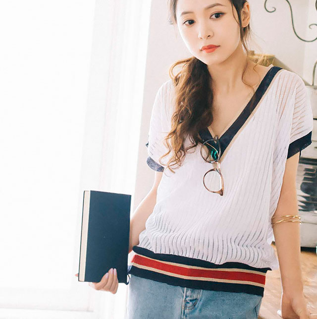 see-through v-neck summer knit[152C]