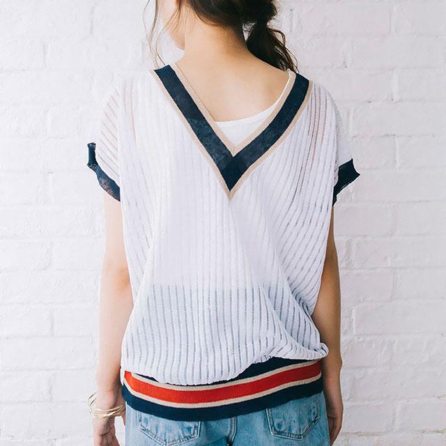 see-through v-neck summer knit[152C]