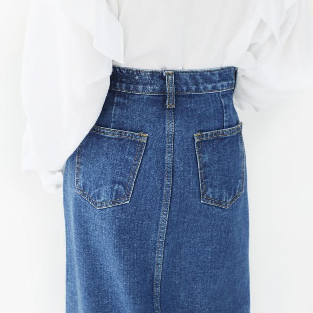 【★mina5月号掲載】フロントボタンロングデニムスカート(全1色)[152M]