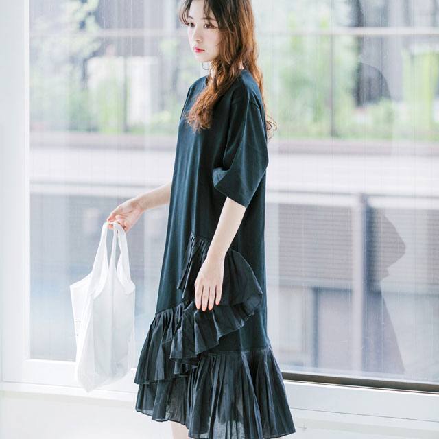 裾プリーツTシャツワンピ(全2色)[154E]