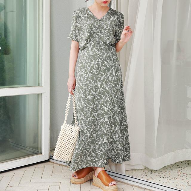 【MERY × Isn't She】waist tuck flower onepiece[1557Z]【7月中旬予約】
