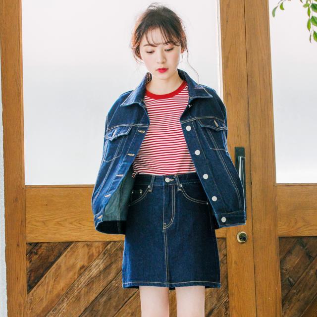 <Summer Sale!!>2color denim mini skirt[156M]