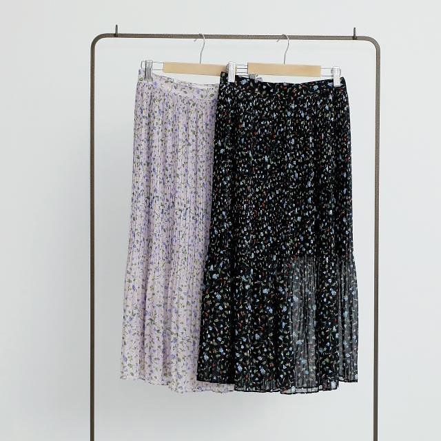 花柄プリーツシフォンスカート(全2色)[159M]【7月下旬予約】