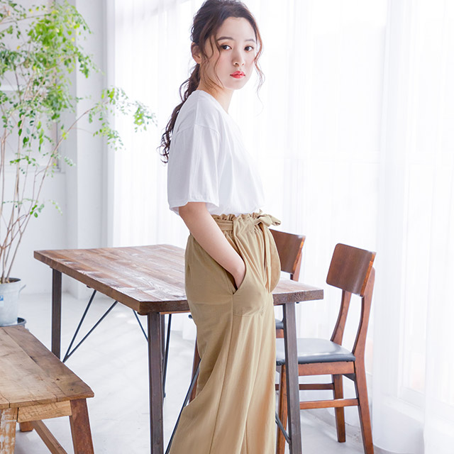 <bottom fair!!6/8(mon)am11:59まで><Sale!!>high waist ribbon pants[1603M]